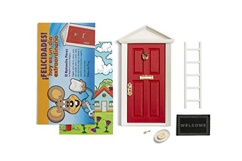 LA PUERTA MÁGICA Magische Tür der Zahnfee Rot + Leiter + Gericht + Teller + Käse + Fußabtreter + Schlüssel + Zeichnung für den Hintergrund der Tür + Grußkarten