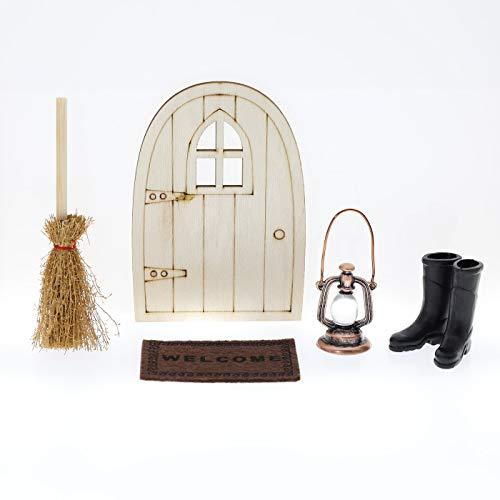 showll Puppenhaus Möbel Zubehör Set, Miniatur Holztür Öllampe Teppichdecke Gummistiefel Kehrbesen Mini Haus Ornament Miniaturen Spiel Spielzeug Deko für Wichteltür/Wichtel