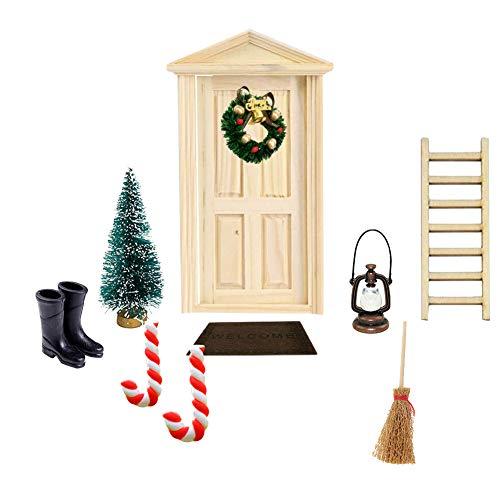 Apofly Puppenhaus ZubehöR, Deko dänische Wichtel Tür Wichteltür, 1:12 Miniatur, DIY Weihnachten Miniatur-Puppenhaus-Set, Weihnachtskranz, Weihnachtsbaum, Miniatur-Puppenhausmöbel und Zubehör 10 Stück