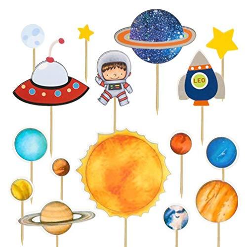 NUOBESTY 32 Stücke Astronaut Planeten Cupcake Topper Geburtstag Kuchendeko Tortenstecker Weltraum Theme Party Dekoration Cake Picks für Baby Shower Kinderparty Kindergeburtstag Deko