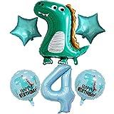 DIWULI, großes Dinosaurier Luftballon Set, 1x XL Dino-Ballon + XXL Zahl 4 Zahlen-Ballon blau + 2X grüner Stern-Ballon + 2X Dino Folien-Ballons für 4. Kinder-Geburtstag Junge, Motto-Party, Dekoration