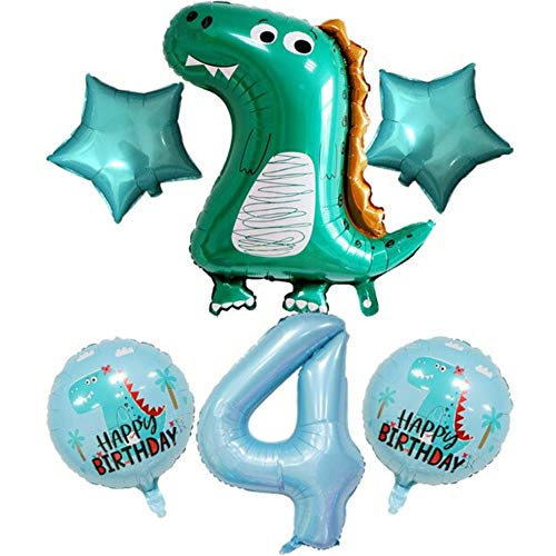 DIWULI, großes Dinosaurier Luftballon Set, Dino-Ballon, XXL Zahl 4 Zahlen-Ballon blau, Zahlenluftballon Folien-Ballons 4. Kinder-Geburtstag Junge, Tyrannosaurus Rex Jahre Motto-Party, T-Rex Dekoration