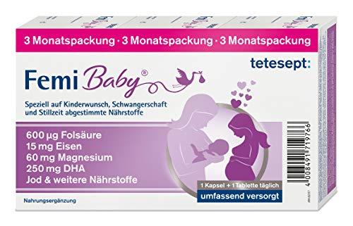 tetesept Femi Baby – 16 Nährstoffe für Kinderwunsch, Schwangerschaft & Stillzeit – Vitamine & Mineralstoffe wie Folsäure, Eisen, Magnesium, Jod + DHA – 1 x 3-Monats-Packung à 90 Tabletten + 90 Kapseln
