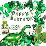 YZNlife Geburtstagsdeko 74Pcs Dinosaurier Party Dekoration, Geburtstagsfeier Deko Kindergeburtstag Deko, Dschungel Happy Birthday Girlande Dino Ballons Grün Luftballons Partyset, Urwald Partydeko